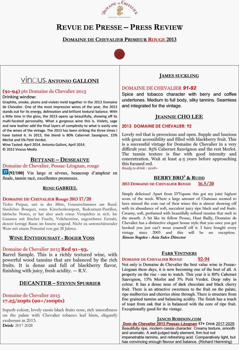 Revue de Presse - Domaine de Chevalier Rouge 2013
