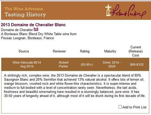 Robert Parker Domaine de Chevalier Blanc 2013 Primeur