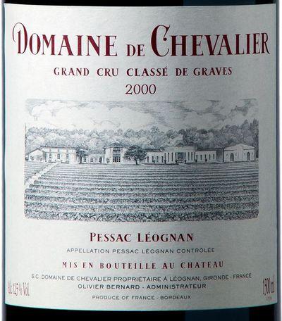 Etiquette Magnum Domaine de Chevalier rouge 2000